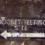 Sign towards the rocket testing site at The Needles Old Battery, Isle of Wight